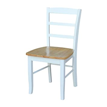 International Concepts C02 2P Madrid LadderBack Chairs, Natural/White