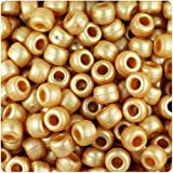 BEADTIN Gold Ashed Pearl 9x6mm Barrel Pony Beads (500pc)