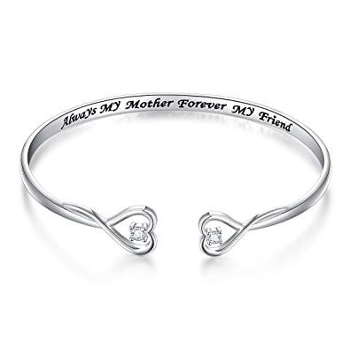 0af165c40653b Mother Gift Sterling Silver Always My Mother Forever My Friend Double Love  Heart Bangle Bracelet