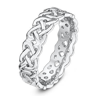 Theia 9ct White Gold Celtic Design 0.06ct Round Diamond 5mm Wedding Ring yFc6adir