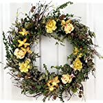Yellow-Rose-and-Lily-Spring-Front-Door-Wreath-22-Inch-Handcrafted-on-a-Grapevine-Wreath-Base-Display-in-Spring-Easter-and-Summer