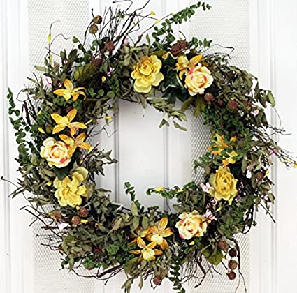 Yellow Rose And Lily Spring Front Door Wreath 22 Inch  Handcrafted On A  Grapevine Wreath