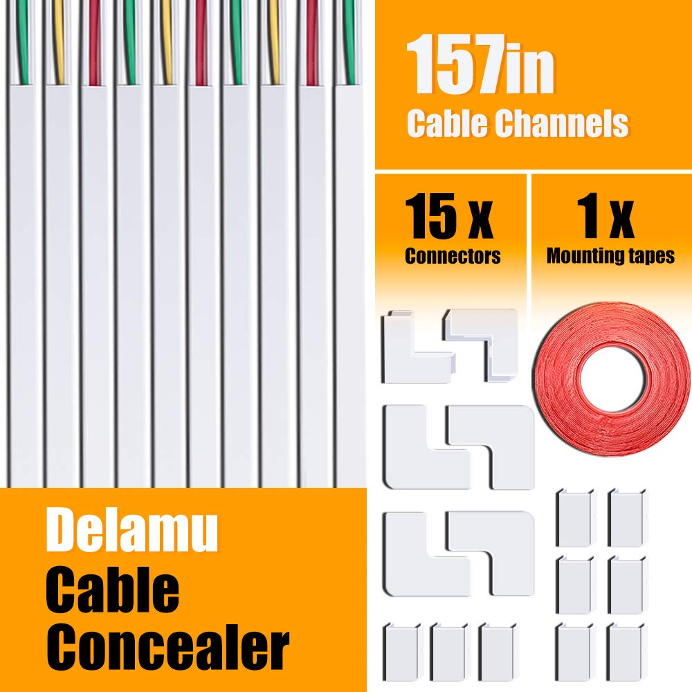 """One-Cord Cable Concealer Channel, 157"""" Mini Cable Hider Management System, Paintable Raceway Kit for Hiding a Single Ethernet Cable, Speaker Wire, Floor Lamp Cord - 10X L15.7in W0.59in H0.4in"""