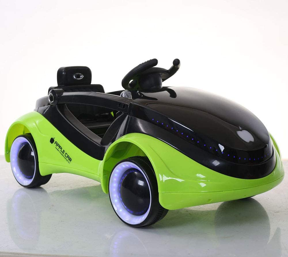 12v子供用電気自動車、LEDライト付きカートゥーンミュージックスペースカー、両親、リモコン、子供用電動ベビーカーコンセプトカー、充電式四輪ベビーカー