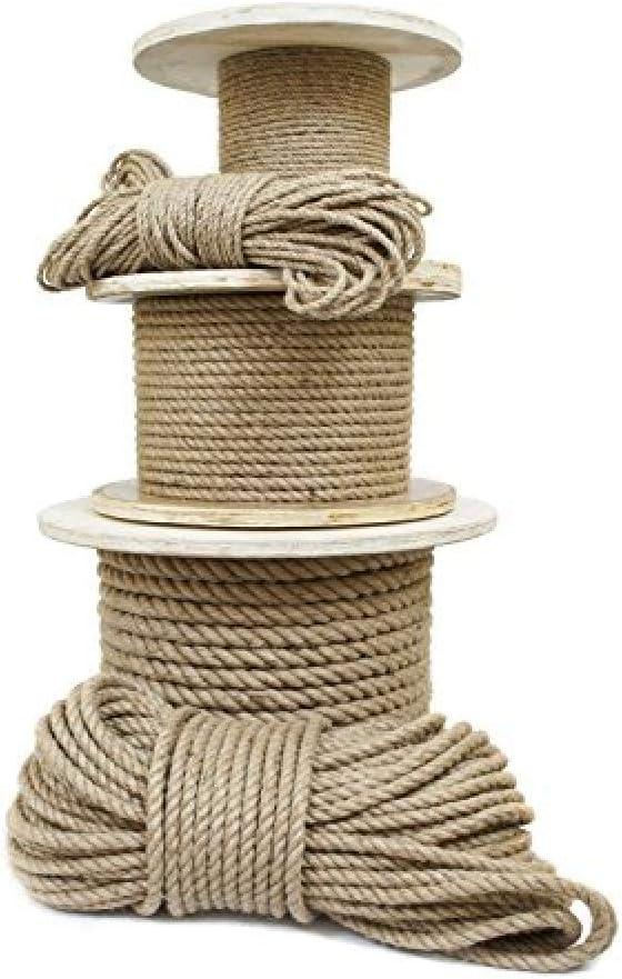 DkmPLQ 10m Cuerda de Yute 20mm Cuerda Gruesa Natural Cuerda de Yute Resistente y Duradera Adecuada para Proteger la tuber/ía de Agua balc/ón barandilla Escalera barandilla-10m