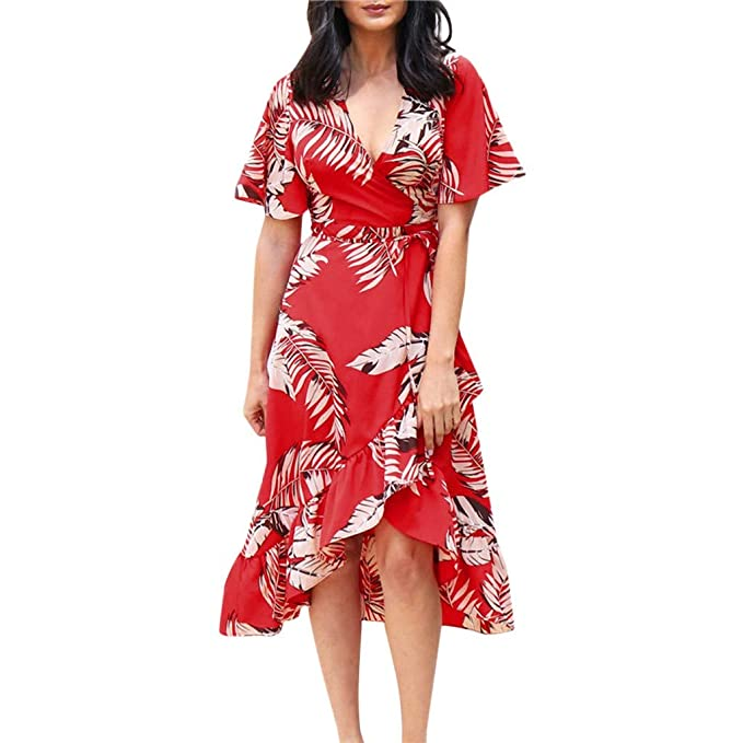 Amazon.com: iNoDoZ Vestido de manga corta para mujer, cuello ...