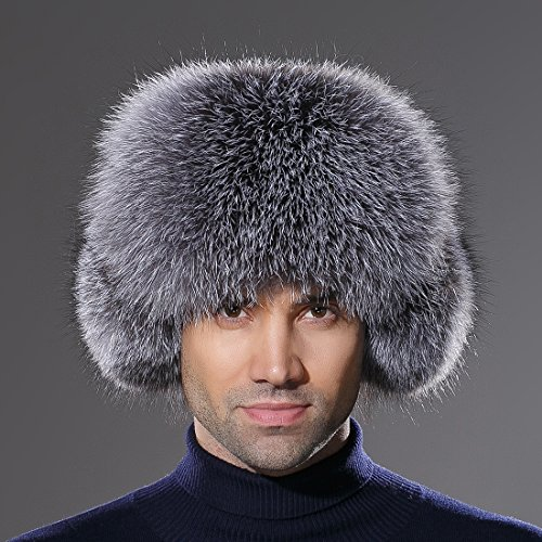 f7b1de7302794 URSFUR Winter Mens Trapper Hat Leather Silver Blue Fox Fur Russian Ushanka  Cap by URSFUR (