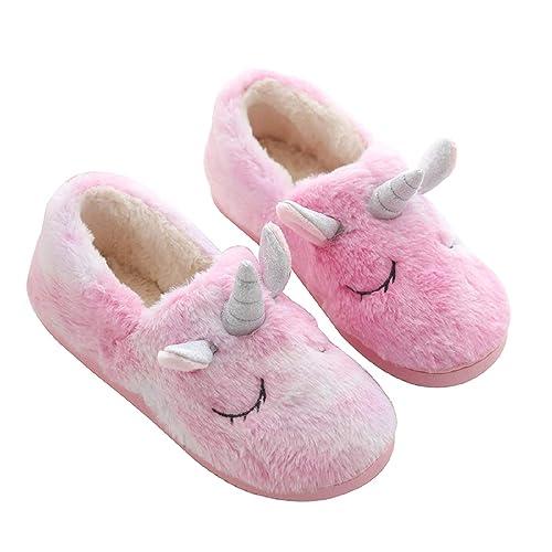 AONETIGER Unicornio Zapatillas Casa Mujer Niña Pantuflas Invierno de Estar Cerradas Peluche Antideslizante Cómodas Slippers: Amazon.es: Zapatos y ...