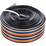 Eowpower 16.5Ft/5M 20Pin Rainbow Color Flat Ribbon Cable IDC Wire Cable