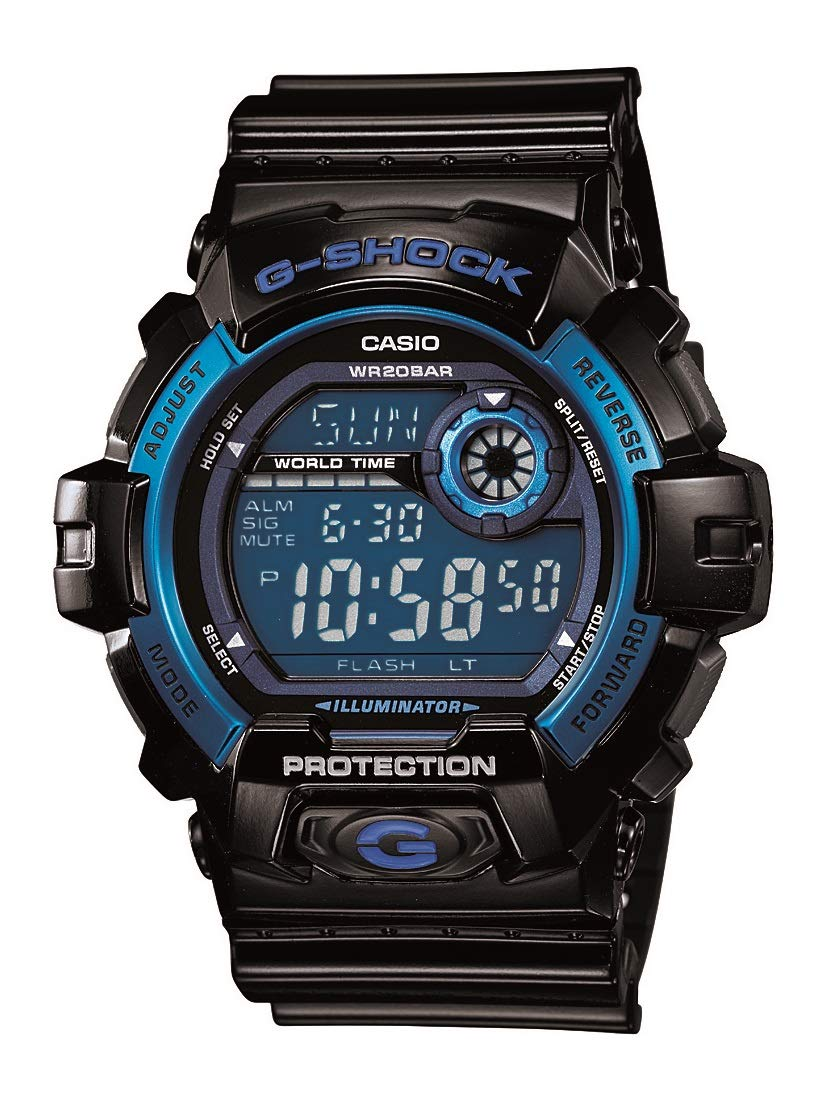 Men's G8900A-1CR G-Shock Black and Blue Resin Digital Sport Watch