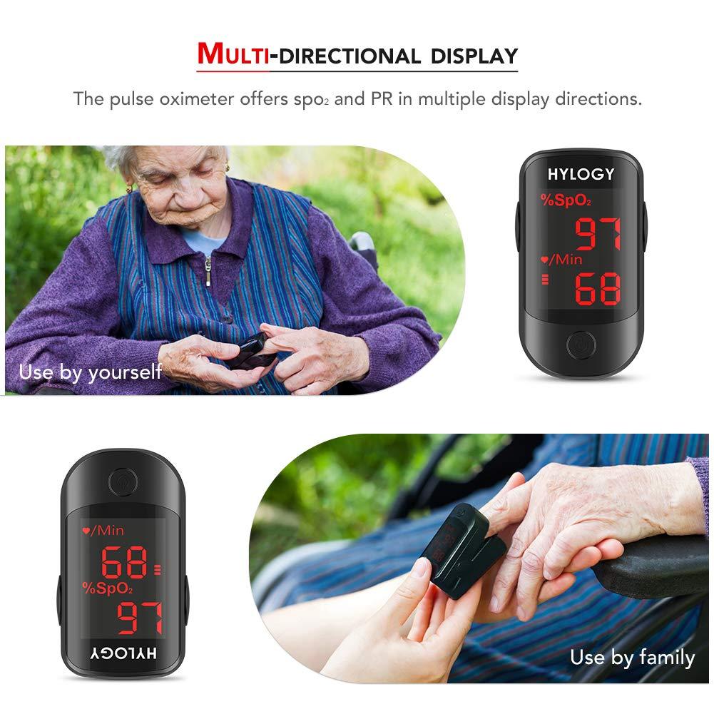 Oxímetro de pulso HYLOGY portátil pulso oxígeno saturación de sangre monitor con pantalla OLED pulso de frecuencia cardíaca para el cuidado de la salud, ...