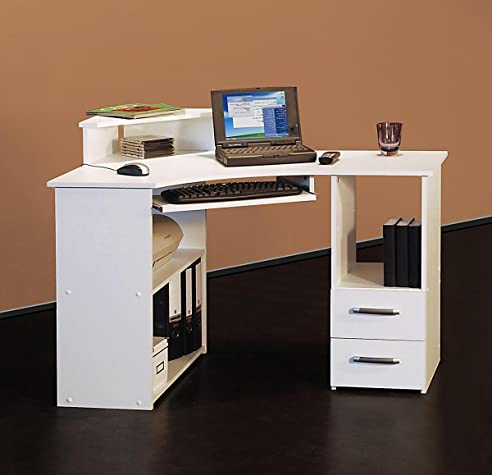 Eck computertisch weiß  4505- 115cm - Eck-Schreibtisch - Computertisch, in weiß, rechts ...