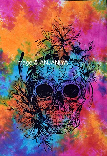 ANJANIYA Sugar Skull with Flower Small Tapestry Poster 30x40 inches Designer Wall Hanging Skull Tapestry Psychedelic Wall Art Cotton Sheet (Multi Tie & Dye) for $<!--$8.50-->