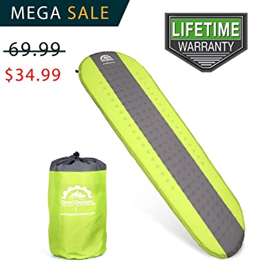 Gear Doctors- Self Inflating Sleeping Pad - Ultra Lightweight Foam Filling 1.5-inch Thick Mat Perfect Size Mattress For Camping Backpacking Travel With Insulation For Cold Winters