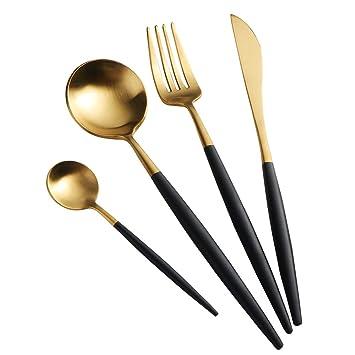 Buyer Star Cuberteria Oro 4 piezas Acero Inoxidable Juego de Utensilios Lujo Vajilla Dorado Cuchillo Tenedor con Mango Negro Set de Vajilla