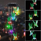 """MorTime LED Solar Hummingbird Wind Chime, 25"""" Mobile Hanging Wind Chime for Home Garden Decoration, Automatic Light Changing Color(Hummingbird)"""