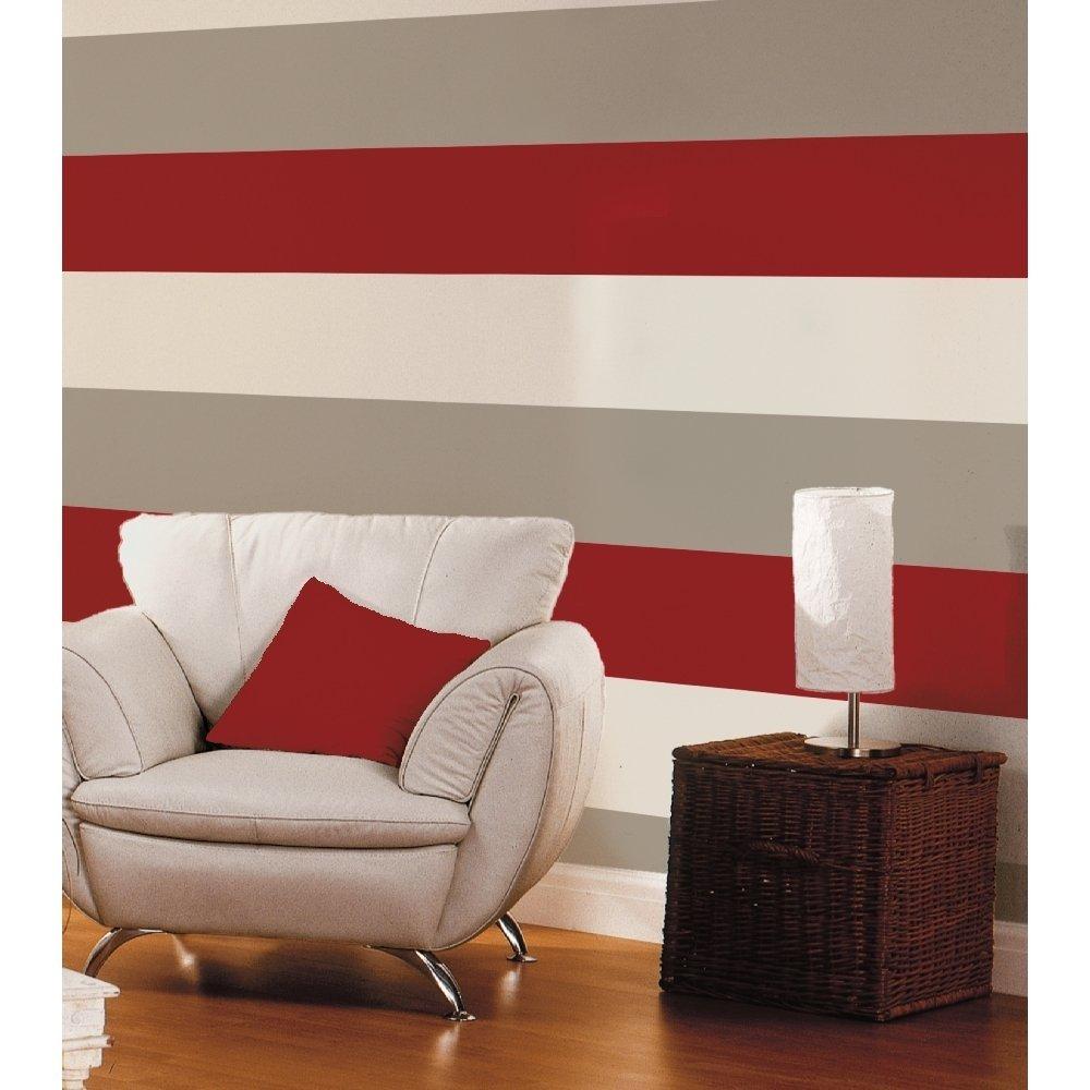 Kitchen wallpaper stripes - Red Grey Cream 40910 Olivia Stripe Wallpaper Amazon Co Uk Diy Tools