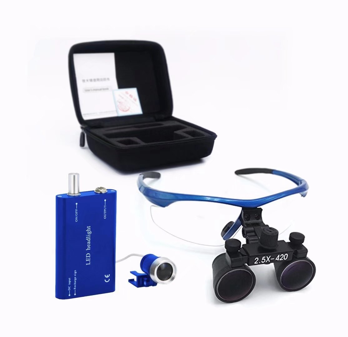 Doc.Royal 2.5X420mm Surgical Medical Binocular Loupes Blue Frame And Black Cones With Black Cloth Bag by Doc.Royal (Image #1)