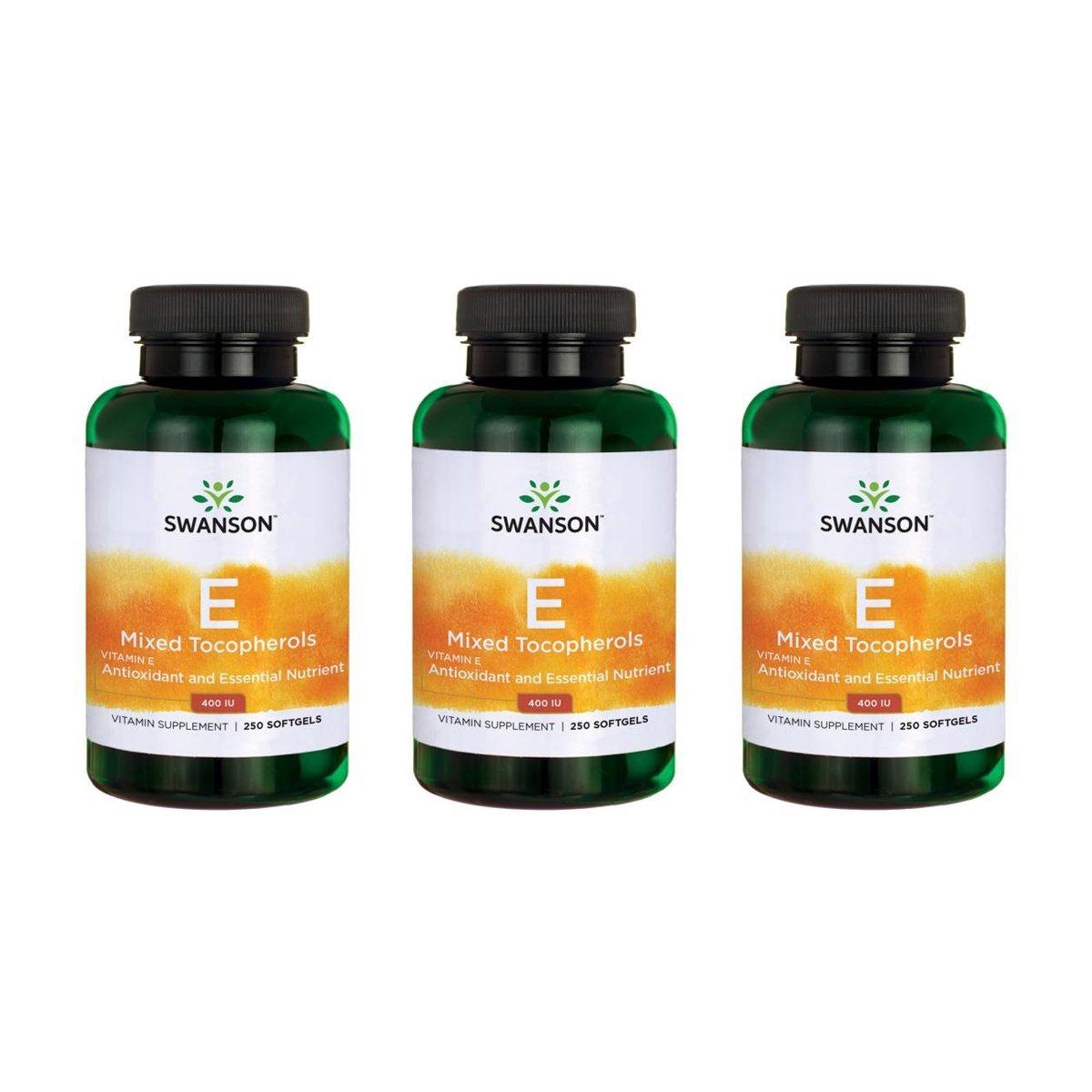 Swanson Vitamin E Mixed Tocopherols 400 Iu 250 Sgels 3 Pack