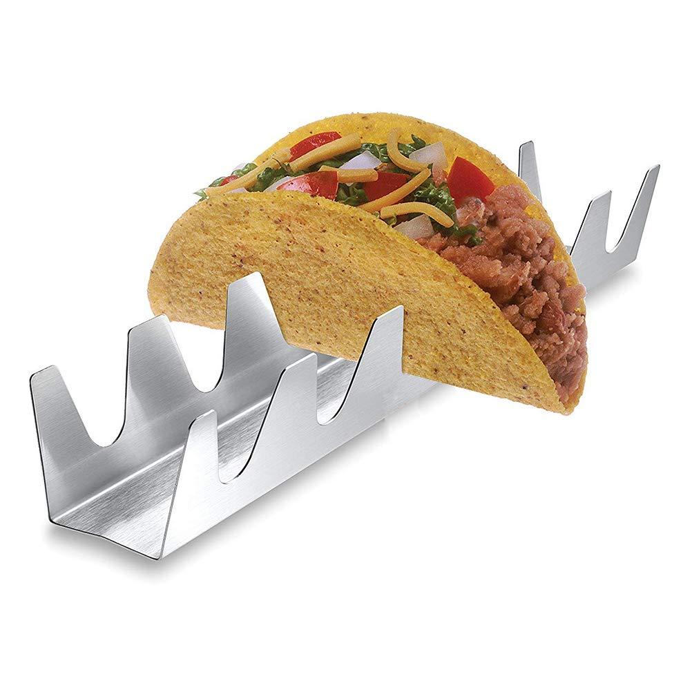 BESTONZON 2 piezas de acero inoxidable Taco Stands Taco Shells Taco Truck Trays Silver