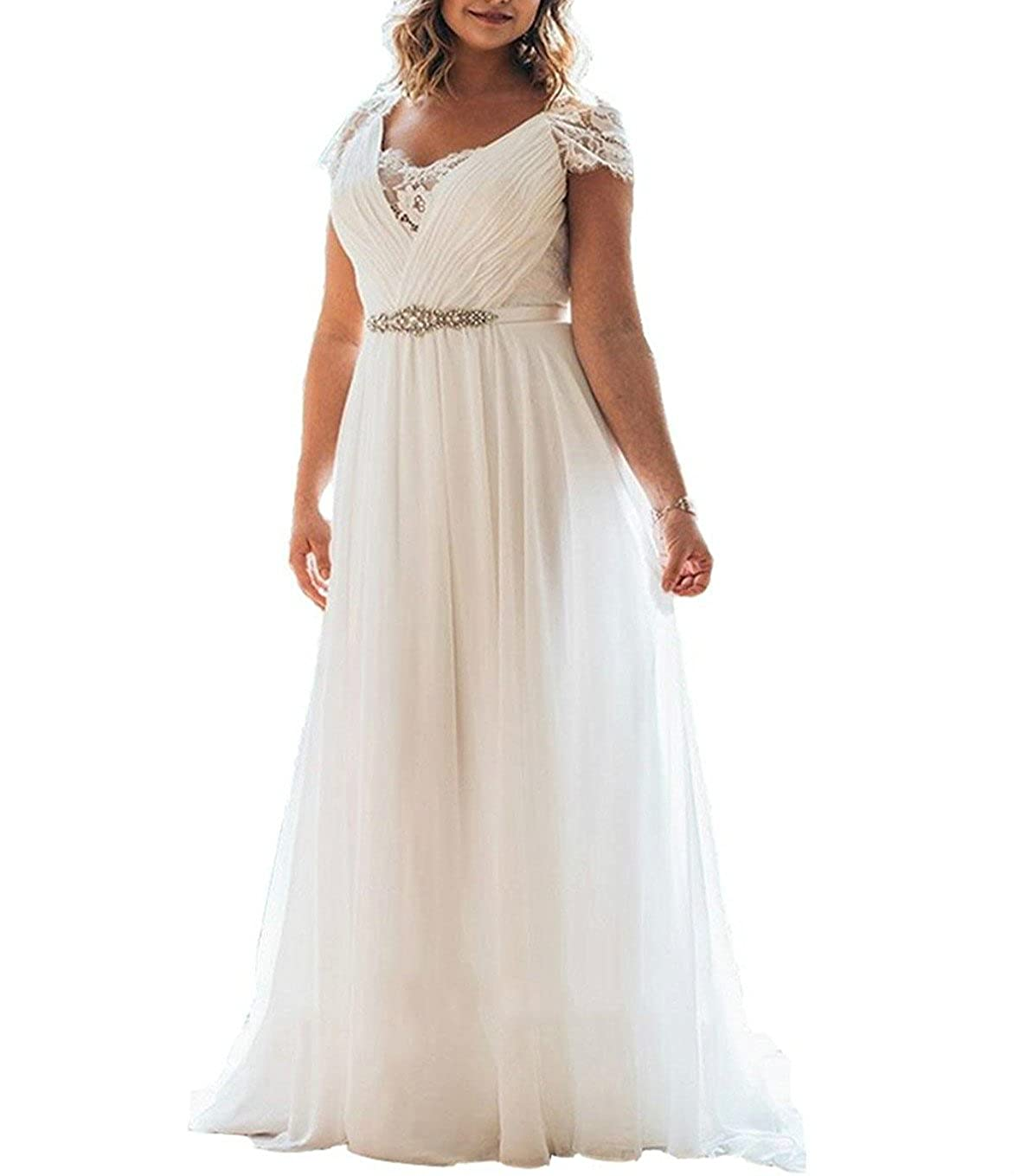 DMDRS Dreamdress Women\'s Chiffon Lace Garden Plus Size Sash Wedding Dresses