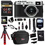 Fujifilm X100F 24.3 MP APS-C Digital Camera – Silver, Polaroid 64GB Memory, Polaroid Flash, Ritz Gear Tripod, Cleaning Kit, Camera Case, Card Reader, Polaroid Screen Protector and Accessory Bundle