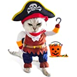 Funny Cat Pirate Costumes - Caribbean Style Pet Dressing up Cosplay Party Costume with Hat Small to Medium Dogs Cats Kitty Cu