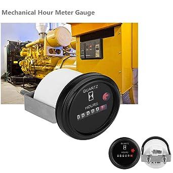 Waterproof Hour Meter Gauge Hourmeter Car ATV Truck Boat Tractor 6V-80V DC Black