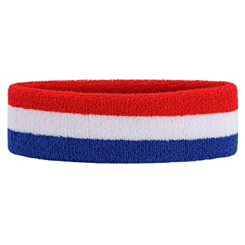 8346ab4f868e OnUpgo Headband Sports Sweatbands Wristbands Terry Cloth Striped Head  Band Wrist Band Set Athletic Exercise