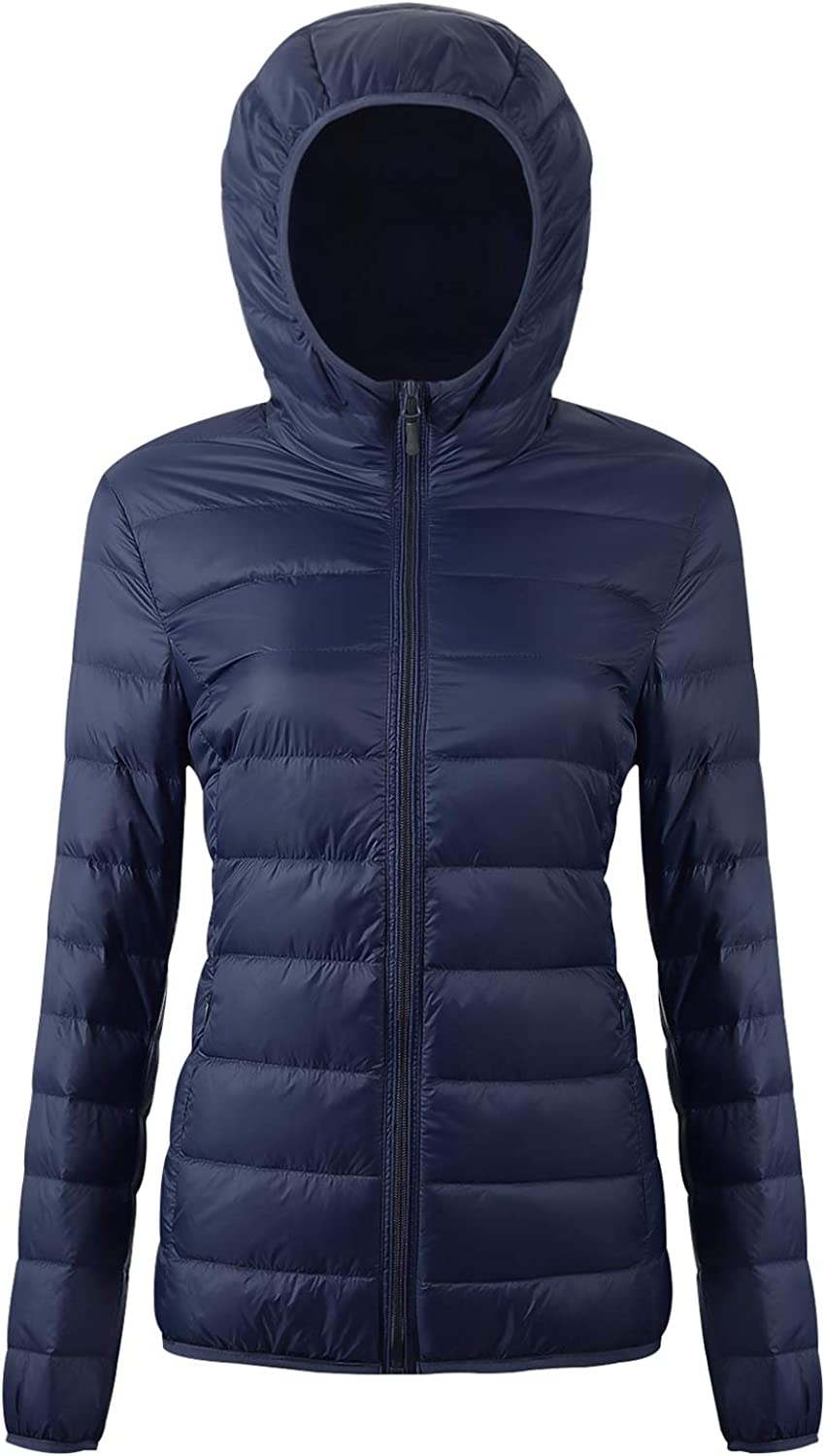 EQUICK Womens Puffer Packable Down Jacket Ultra Light Weight Short Coat with Travel Bag