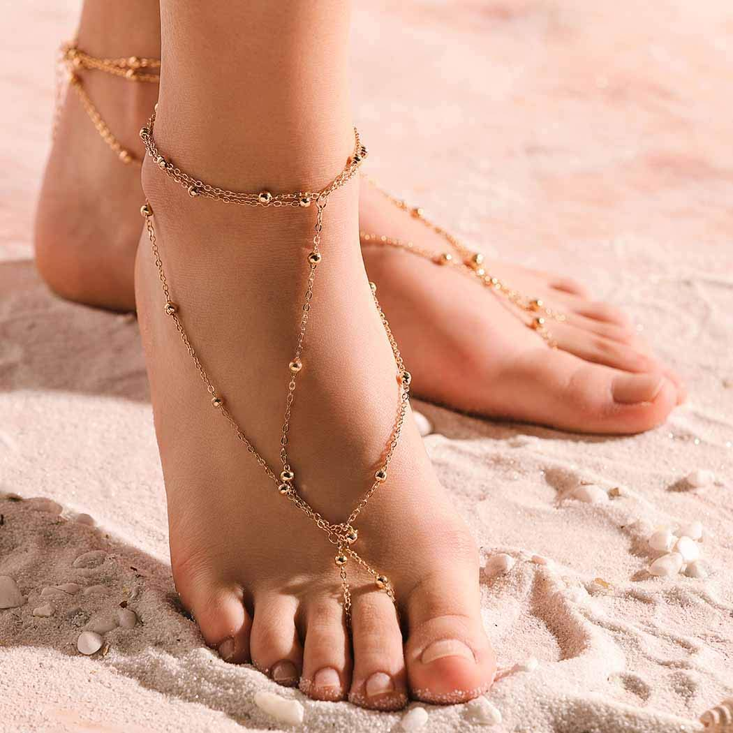 Ursumy Boho Anklets Layered Foot Chain Beaded Barefoot Sandals Jewelry for Women and Girls (Gold) 2Pcs