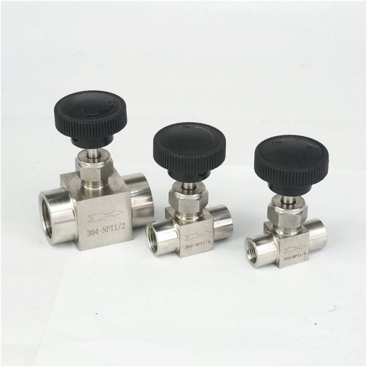 Fittings 1//8 1//4 1//2 Inch NPT Female Needle Valve 304 Stainless Steel Flow Control Water Gas Oil NPT Valves Thread Specification : 1//8 BAIJIAXIUSHANG-TIES Valves