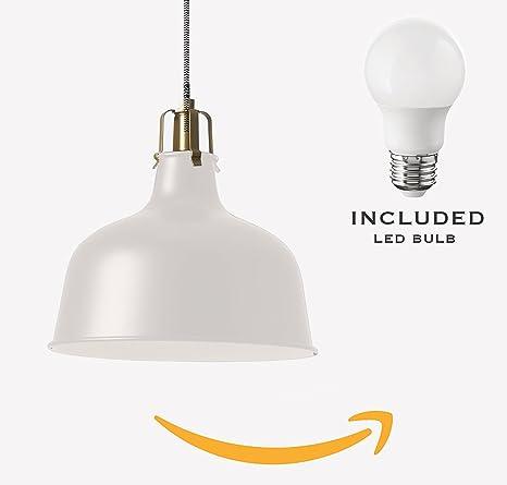 Ikea lighting pendant White Image Unavailable Amazoncom Ikea Ranarp Pendant Lamp Offwhite E26 Led Bulb Amazoncom