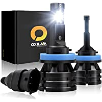 OXILAM H8-H11-LED-Headlight Bulbs [ Mini Size ] 10,000 Lumens Extremely Bright All-in-One Conversion Kit Day Running Light 6000K Cool White-2 Year Warranty (Pack of 2)