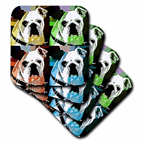 3dRose Clyde The Bull Dog Multi Colored Collage of A Adorable Bulldog We Call Clyde - Ceramic Tile Coasters, Set of 4 - Coaster Tile Ceramic Dog