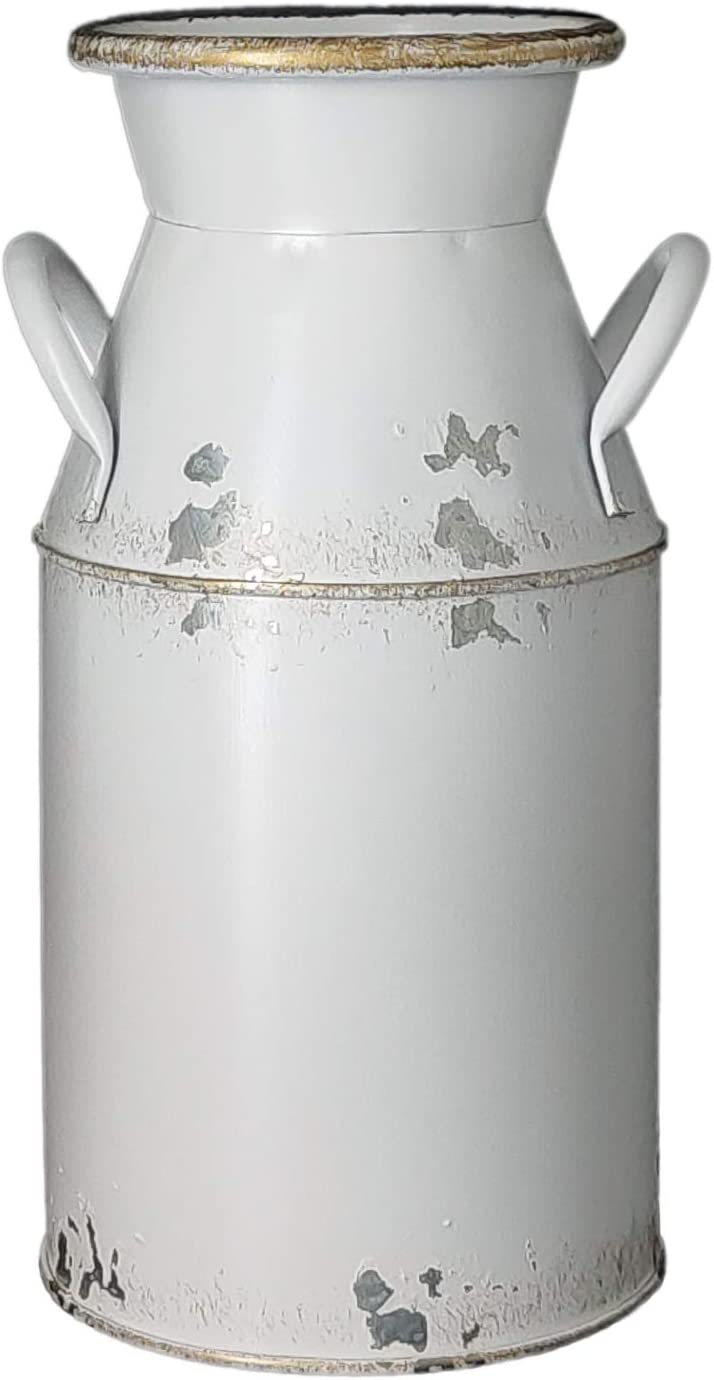 "Fauevav Galvanized Milk Can Antique Retro Vase Metal Planter Rustic Vintage Primitive Flower Holder Farmhouse Country Plant for Home Office Decor, 7.6"""