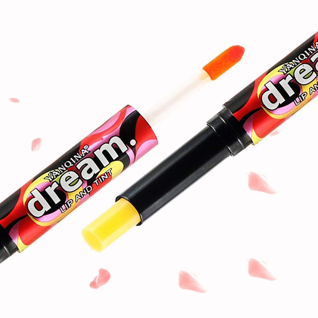 Kisshine Liquid Lipstick Moisturized Lip Stain Double-Headed Shimmer Lip Gloss Red Non-Fading Lipstick Cosmetics Makeup Set for
