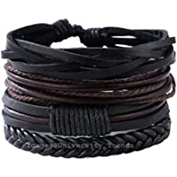 University Trendz Latest Genuine Leather Handmade Woven Bracelet for Men and Women Set of 4 (Multicolour)