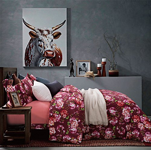 Autumn Leaf Watercolor Print Brushed Cotton Duvet Cover Modern Tree Branches Pattern Soft and Warm Bedding Set Cream Copper Rust Burgundy Mauve Fall Colors Leaves (King, Burgundy) (Raised Leaf Pattern)