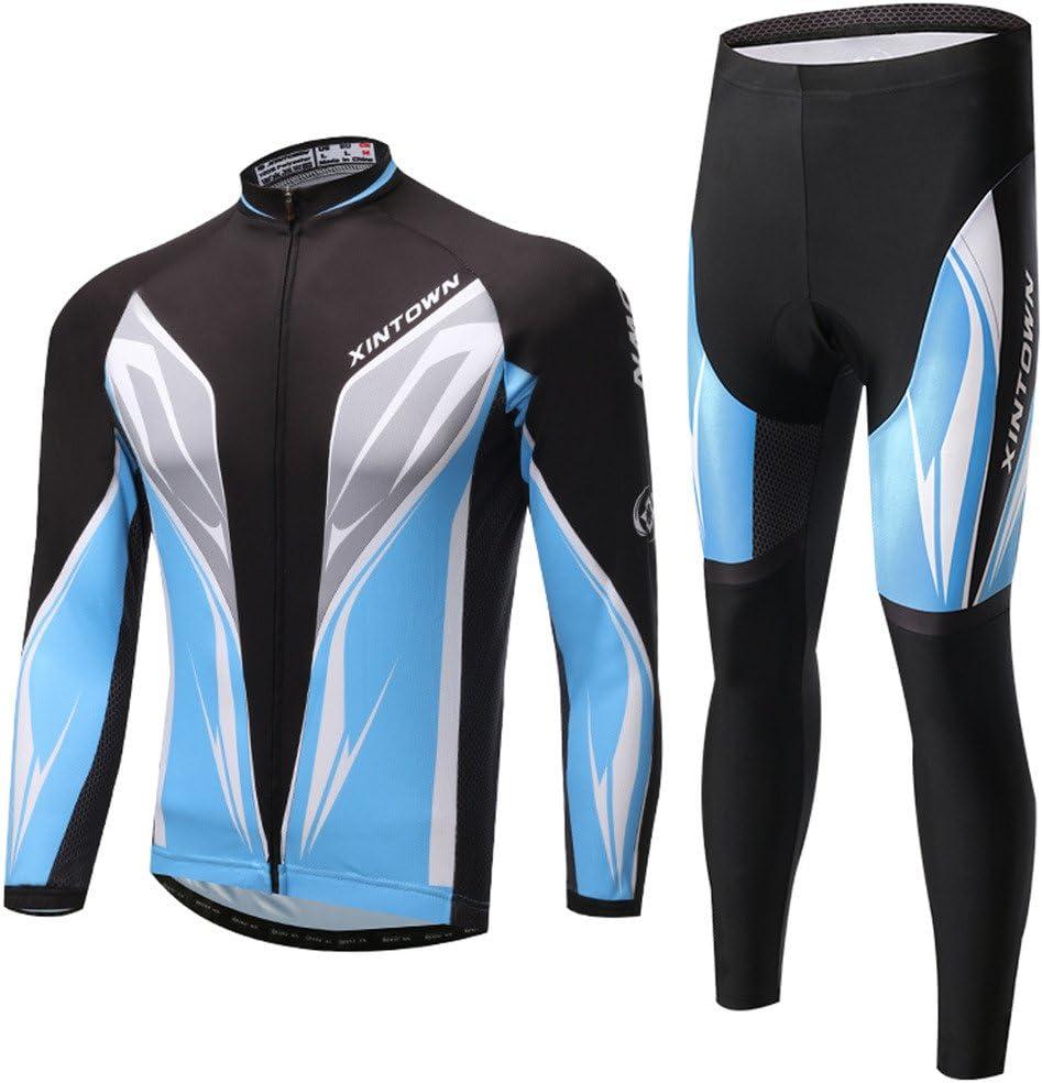 SKYSPER Maillot de Cyclisme Homme avec 3D Gel Rembourr/é Respirant S/échage Rapide Set Maillot de Manches Longues Pantalons Printemps//Automne//Hiver Cyclisme V/êtements pour Sports de Plein Air