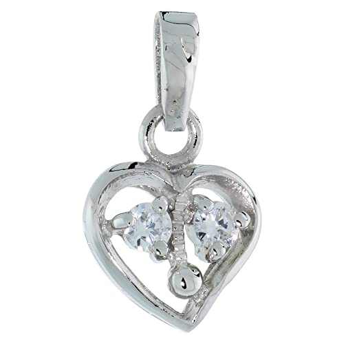 70425b0cb1791 Image Unavailable. Image not available for. Color  Sterling Silver Open  Heart Pendant Cubic Zirconia ...