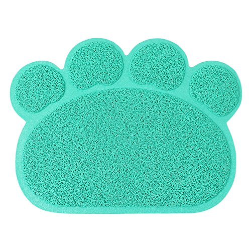 Daisy1993 Paw Shaped Pet Dish Mat, PVC Pet Food & Water B...