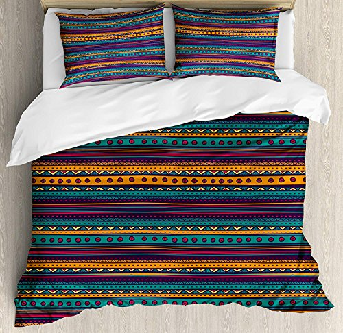 Tribal 4 Piece Bedding Set Twin Size, Striped Retro Aztec Pattern with Rich Mexican Ethnic Color Folkloric Print, Duvet Cover Set Quilt Bedspread for Childrens/Kids/Teens/Adults, Teal Plum and Orange by Anzona