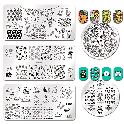 NICOLE DIARY 5 Pcs Stamping Template Panda Sunglasses Ice Cream Coconut tree lollipop Flower Dog Chrysanthemum Manicure Stamping Plate Nail Art Tools