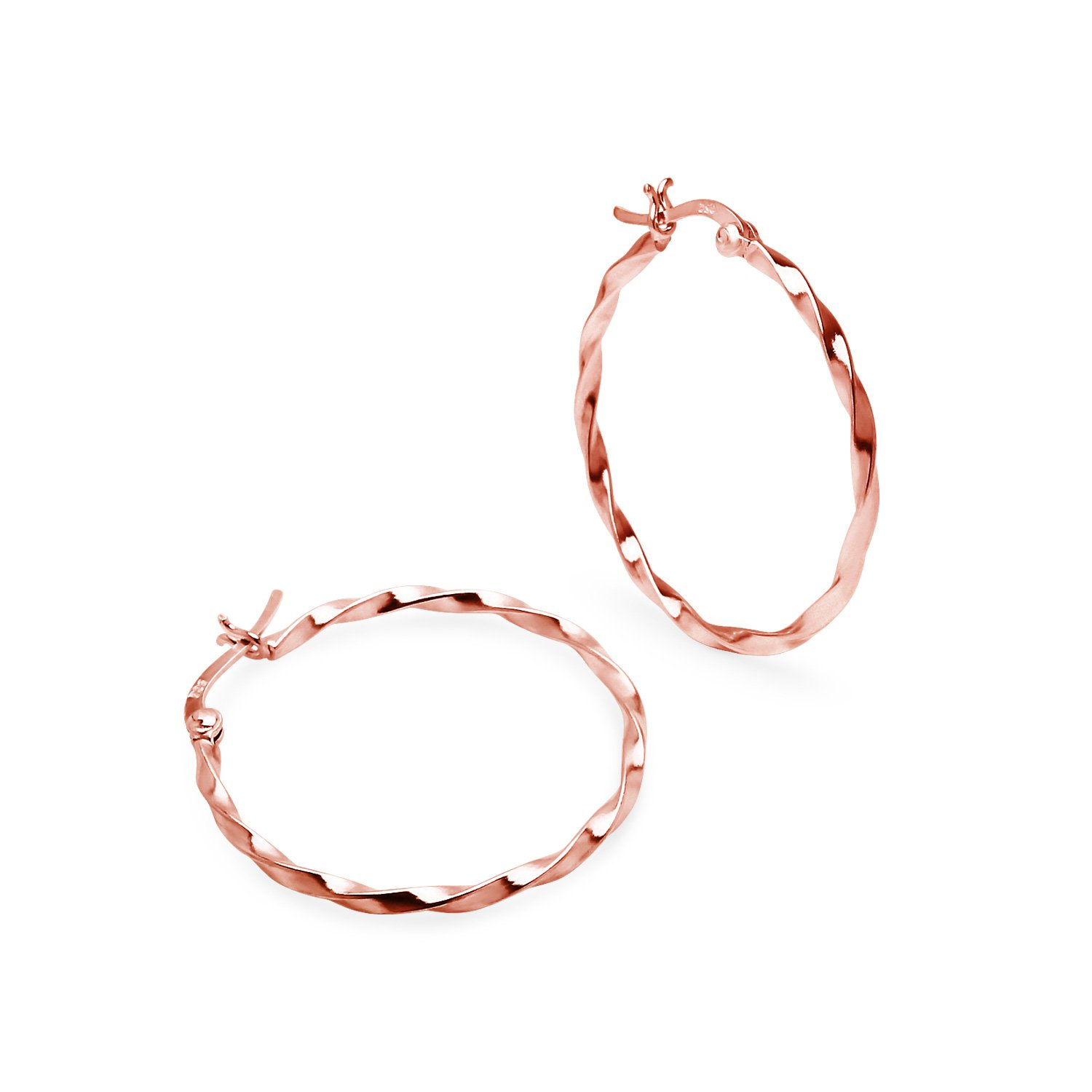 Sterling Silver Rose Gold Flash Large Twisted Round 1.5mm Thin Hoop Earrings Available in 40mm