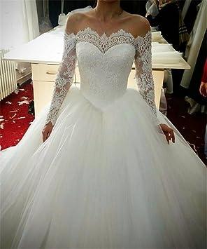HAPPYMOODVestidos de novia Vestido de novia Cordón de las mujeres Cuentas Sexy Escotado por detrás Largo