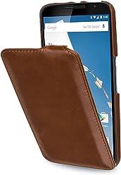 StilGut® UltraSlim Case - Senza Magnete -, Custodia in Vera Pelle per Google Nexus 6 und Motorola Nexus 6, Cognac