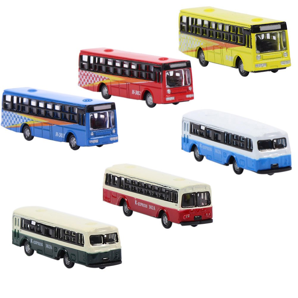 BS150 6pcs Diecast Model Buses Car 1:160 N Scale Streetscape Layout Railway Scenery DIY Train Layout Model Accessories by Evemodel