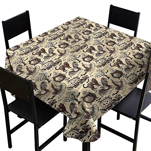 (haommhome Restaurant Tablecloth Vintage Halloween Black Cat Motif Excellent Durability W63 xL63 Indoor Outdoor Camping)