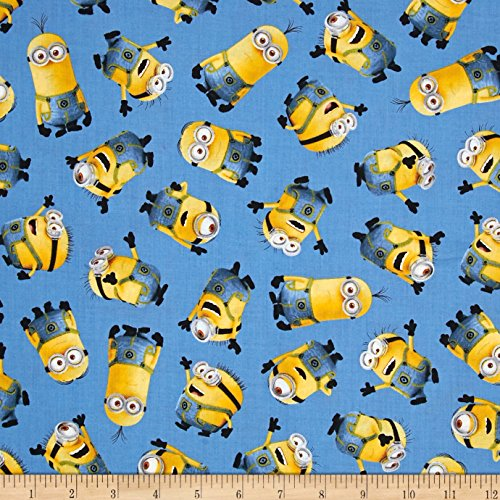 Fabric & Fabric Universal Despicable Me 1 Tossed Minions Blue Fabric by The -